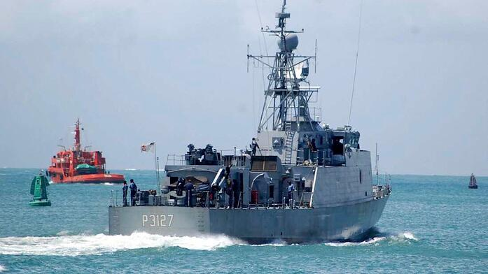 A Kenya Navy warship in the Indian Ocean sails out to the deep sea for surveillance.