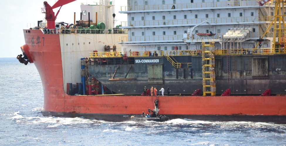 A boarding team from the ITS Martinengo boards the Zhen Hua 7 in the Gulf of Guinea after it was attacked by pirates on November 13, 2020