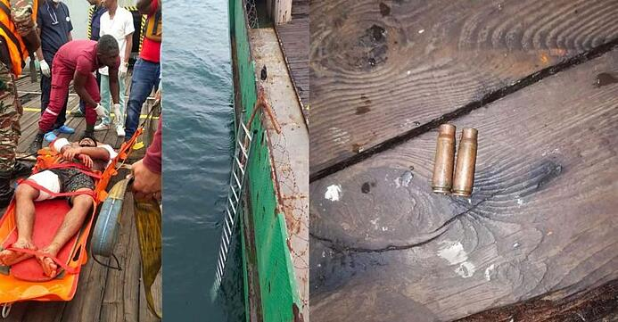 Chief cook Sunil Ghosh (left) was shot at three times by the pirates. The ladder used by the pirates (Middle). Bullet shells onboard the vessel (right).