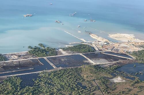 Construction work at the Total SA liquefied natural gas plant in June. Source Mozambique LNG