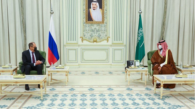 Minister of Foreign Affairs of the Russian Federation Sergey Lavrov meeting with Crown Prince of the Kingdom of Saudi Arabia, Mohammed bin Salman Al Saud