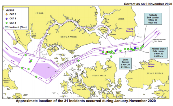 ReCAAP ISC warning: Three incidents against ships in Singapore Strait in one night