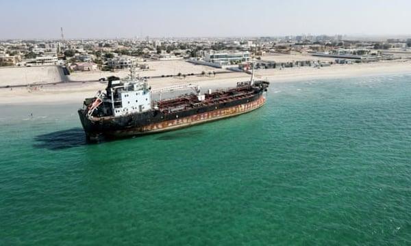 The MT Iba tanker beached in Umm Al Quwain
