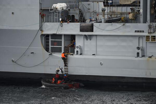 The Nigerian navy Special forces climb aboard a vessel in a training operation to check criminal operations including piracy in the region in October 2019. Piracy has since picked up in the region.